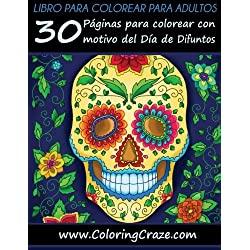 Libro-para-colorear-adultos-ColoringCraze-30-Páginas-para-colorear-con-motivo-del-Día-de-Difuntos-books